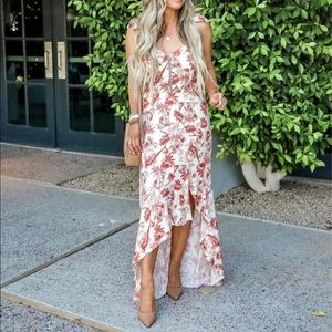 WAYF tropical print high low dress